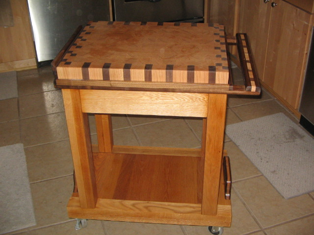 end grain butcherblock serving cart